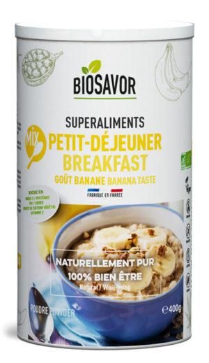 Petit déjeuner saveur banane de la marque de superaliment BioSavor