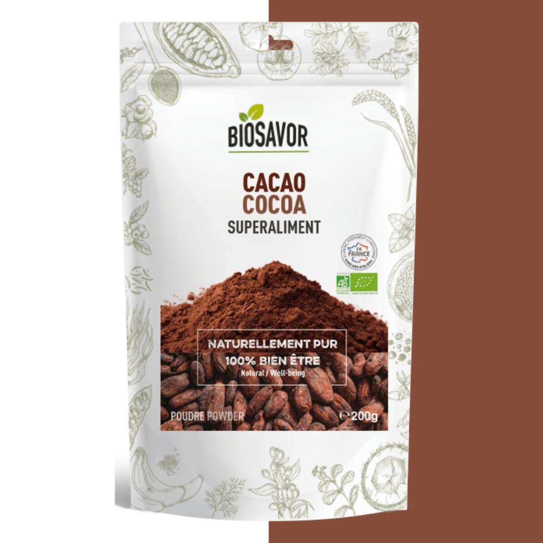 Cacao en poudre de la marque BioSavor, superaliment en poudre