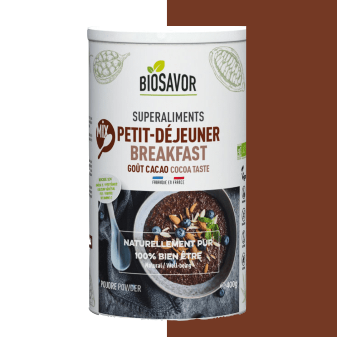 Le mix petit déjeuner saveur cacao en poudre Bio de la marque de superaliments française BioSavor