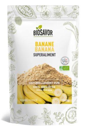 La banane en poudre Bio de 200g de la marque de superaliments française BioSavor