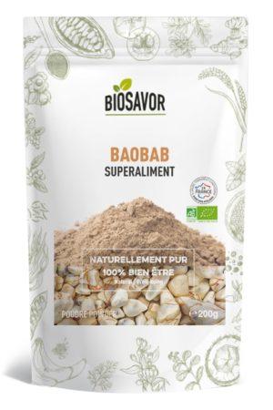 Le baobab en poudre Bio de 200g de la marque de superaliments française BioSavor