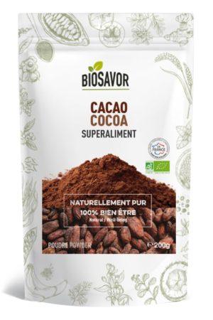 Le cacao en poudre en poudre Bio de 200g de la marque de superaliments française BioSavor