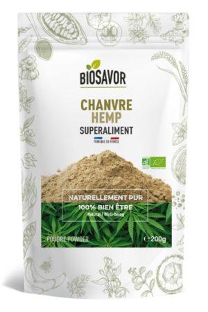 Le chanvre en poudre Bio de 200g de la marque de superaliments française BioSavor