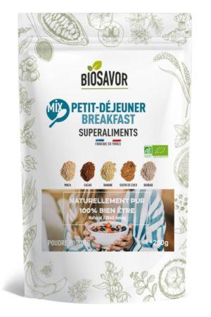 Le mix petit déjeuner en poudre Bio de 200g de la marque de superaliments française BioSavor