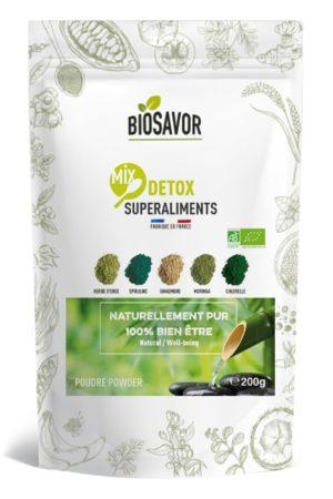 Le mix detox en poudre Bio de 200g de la marque de superaliments française BioSavor