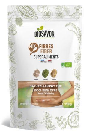 Le mix fibres en poudre Bio de 200g de la marque de superaliments française BioSavor