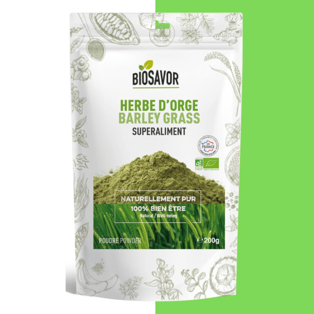 herbe d'orge en poudre bio de la marque biosavor