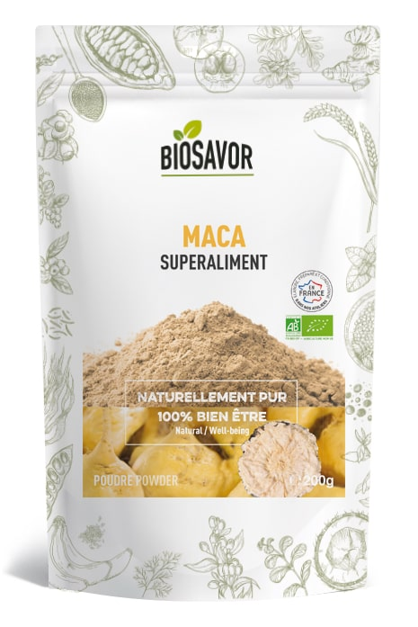 La maca en poudre Bio de 200g de la marque de superaliments française BioSavor