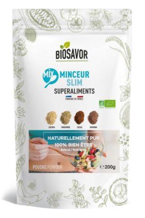 Le mix minceur en poudre Bio de 200g de la marque de superaliments française BioSavor