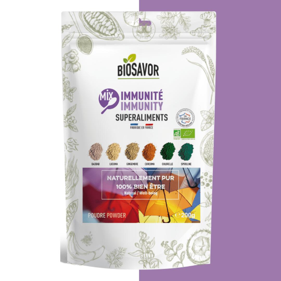 Le mix immunité en poudre Bio de la marque de superaliments française BioSavor