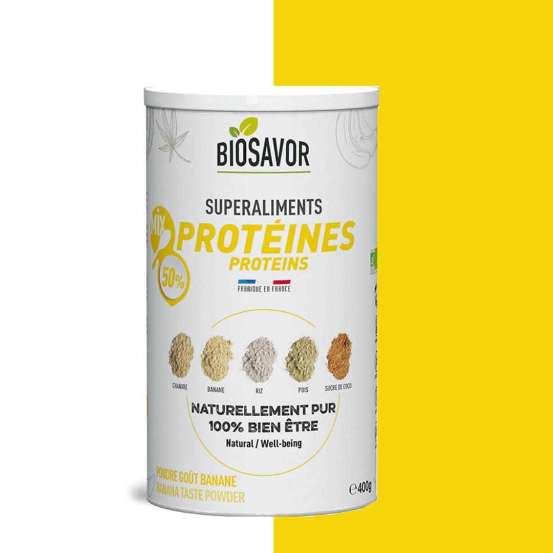 Le mix proteine saveur banane en poudre Bio de la marque de superaliments française BioSavor