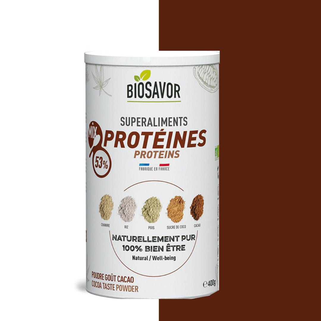 Le mix protéine saveur cacao en poudre Bio de la marque de superaliments française BioSavor