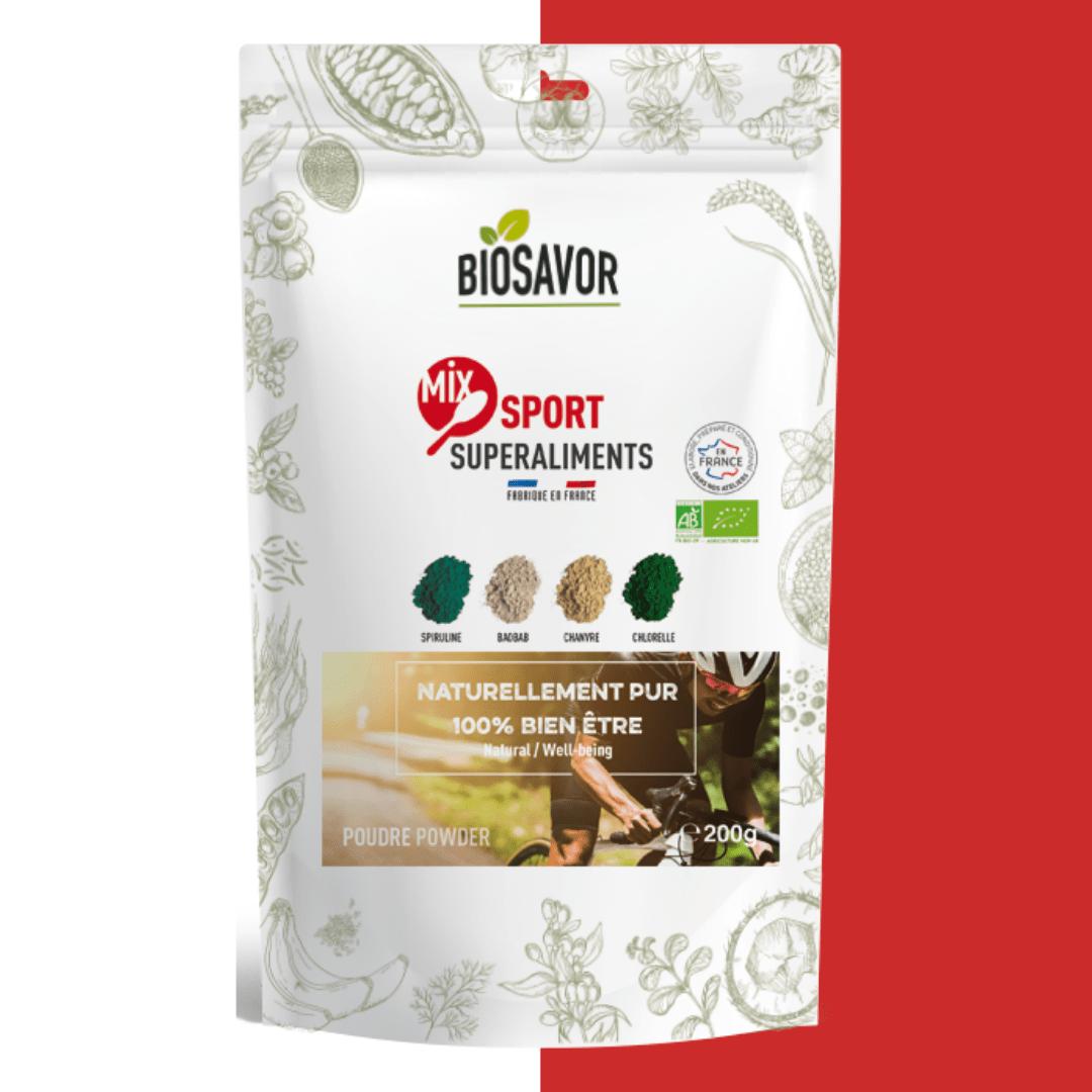 Le mix sport en poudre Bio de la marque de superaliments française BioSavor