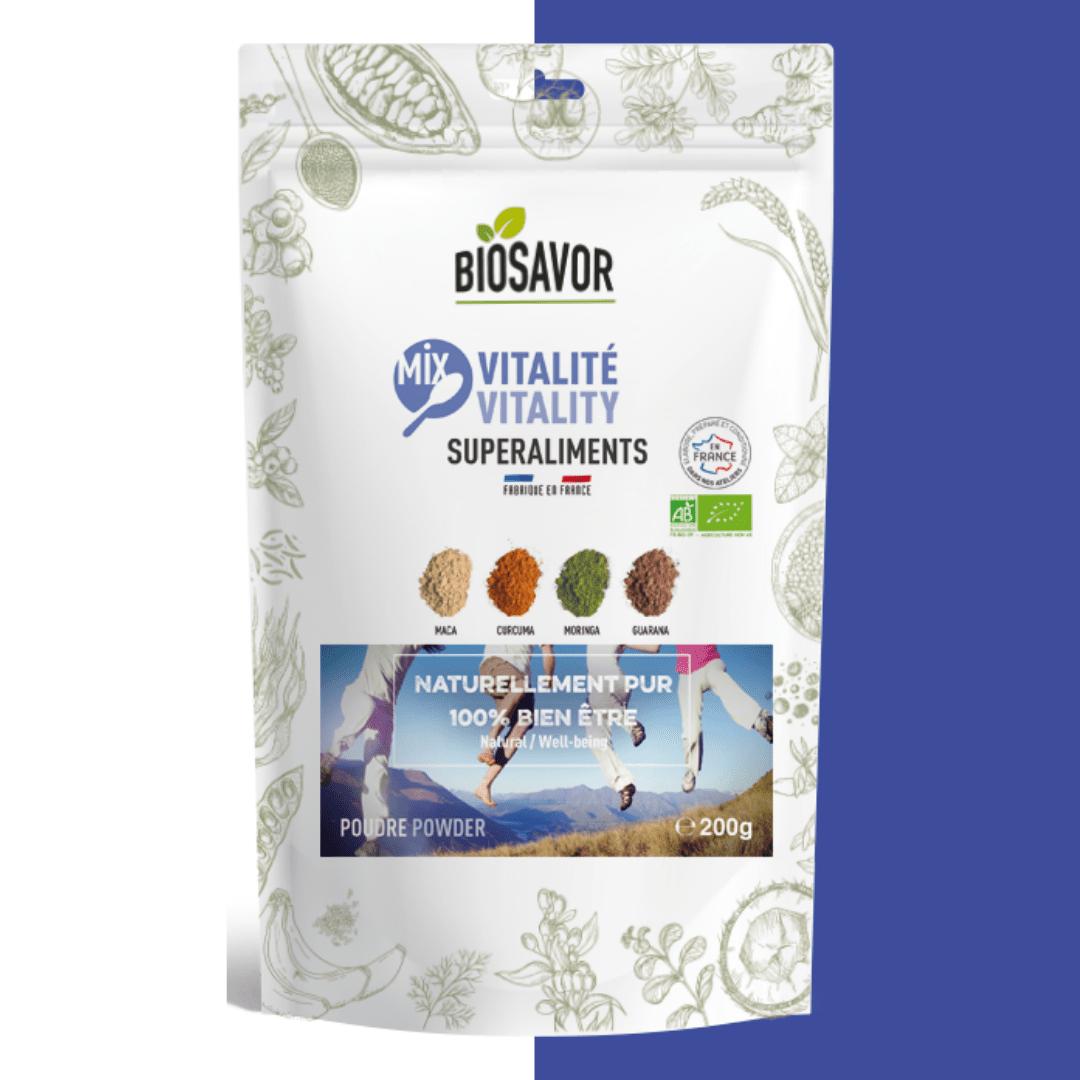 Le mix vitalité en poudre Bio de la marque de superaliments française BioSavor