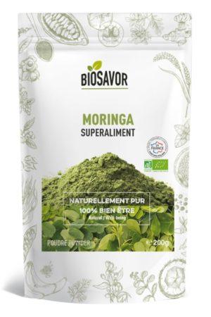Le moringa en poudre Bio de 200g de la marque de superaliments française BioSavor