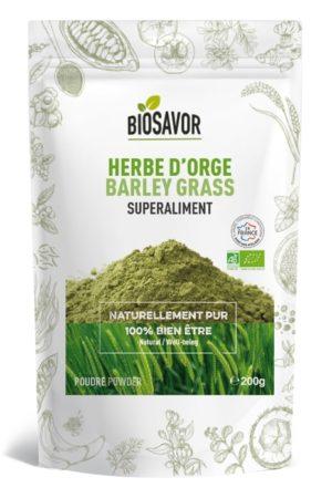 L'herbe d'orge en poudre Bio de 200g de la marque de superaliments française BioSavor