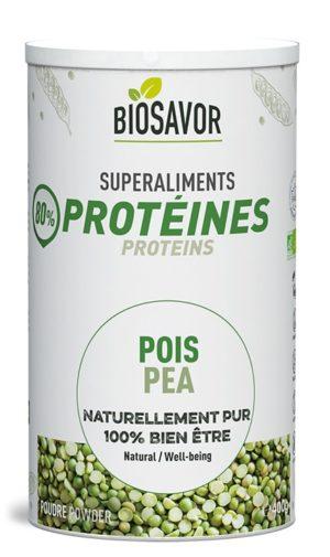 La protéine de pois en poudre Bio de 400g de la marque de superaliments française BioSavor