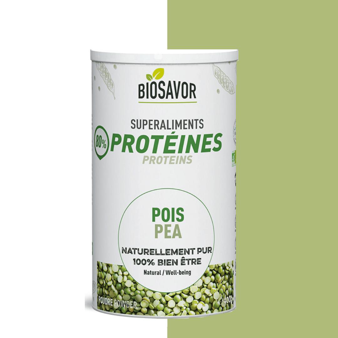 La protéine de pois en poudre Bio de la marque de superaliments française BioSavor