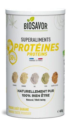 Le mix de protéine gout banane en poudre Bio de 400g de la marque de superaliments française BioSavor