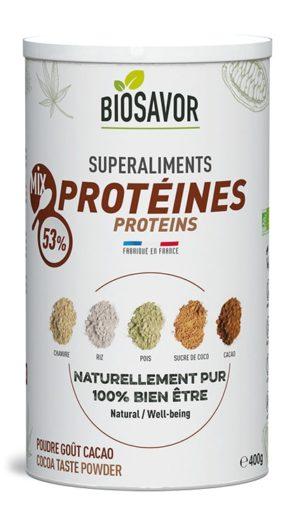 Le mix de protéine gout cacao en poudre Bio de 400g de la marque de superaliments française BioSavor