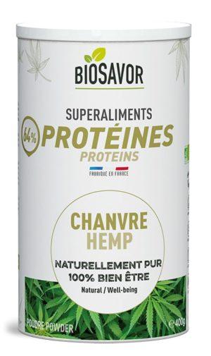 La protéine de chanvre en poudre Bio de 400g de la marque de superaliments française BioSavor