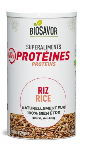 La protéine de riz en poudre Bio de 400g de la marque de superaliments française BioSavor