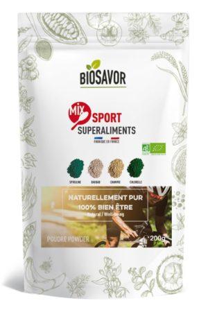 Le Mix Sport en poudre Bio de 200g de la marque de superaliments française BioSavor