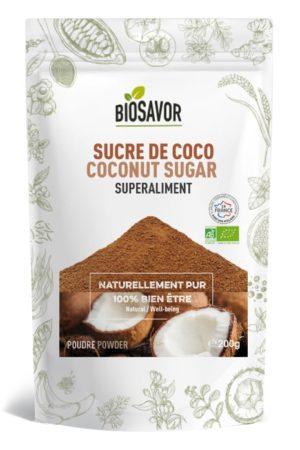 Le sucre de coco en poudre Bio de 200g de la marque de superaliments française BioSavor
