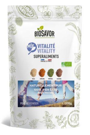 Le Mix vitalité en poudre Bio de 200g de la marque de superaliments française BioSavor